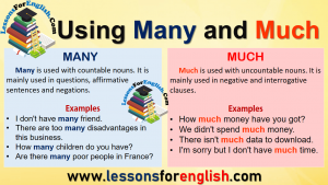 Using Many and Much in English