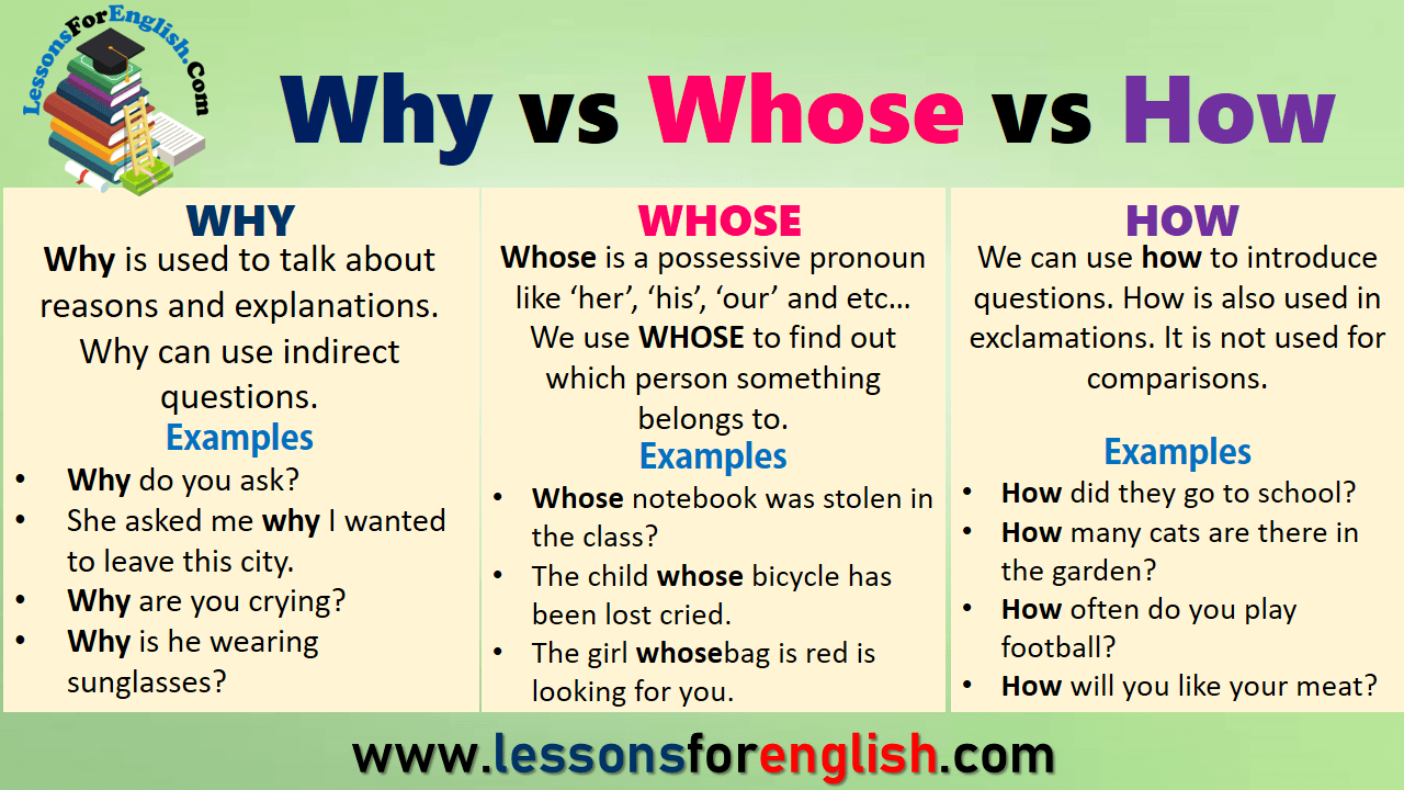 Why vs Whose vs How in English