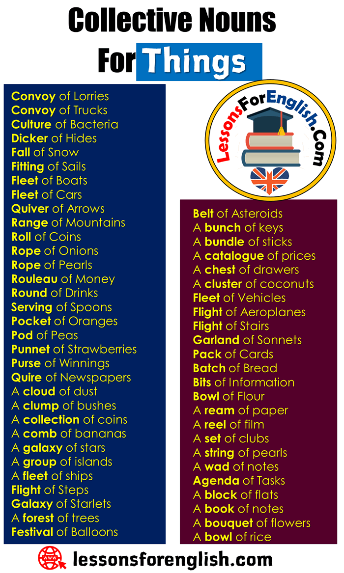 English Collective Nouns List,Collective Nouns For Things