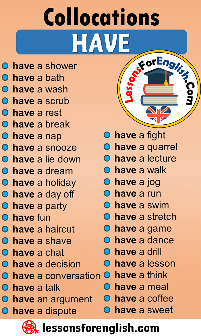English Phrases Examples,Collocations with HAVE in English