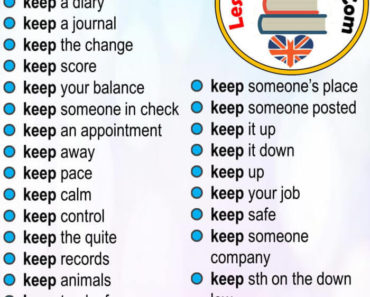 English Phrases Samples, Collocations with KEEP in English
