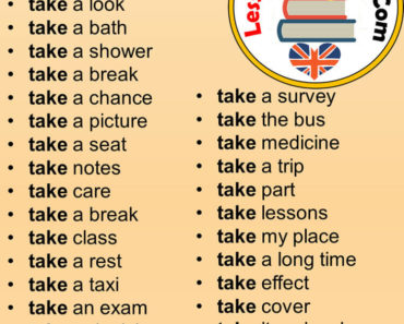 English Phrases Examples, Collocations with TAKE in English