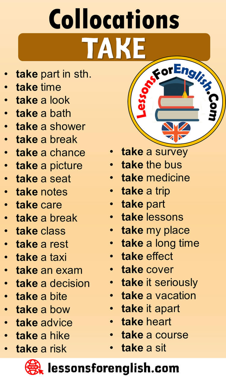 English Phrases Examples,Collocations with TAKE in English