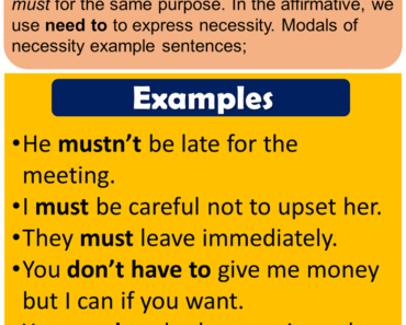 English Modal Verbs of Necessity