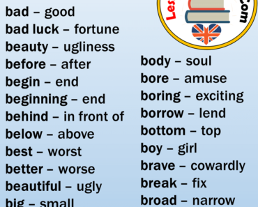 EnglishOpposite Words Starting With B