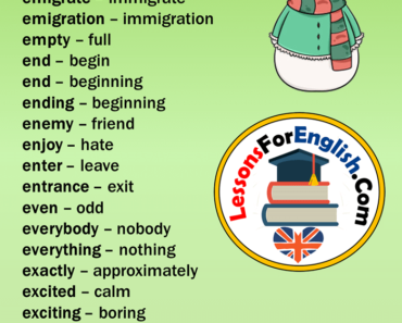 English Vocabulary,Opposite Words Starting With E