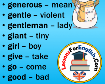 EnglishOpposite Words Starting With G