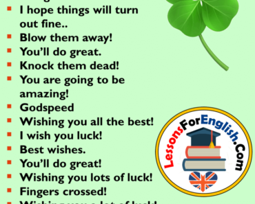 English Other Ways To Say Good Luck, English Phrases Examples