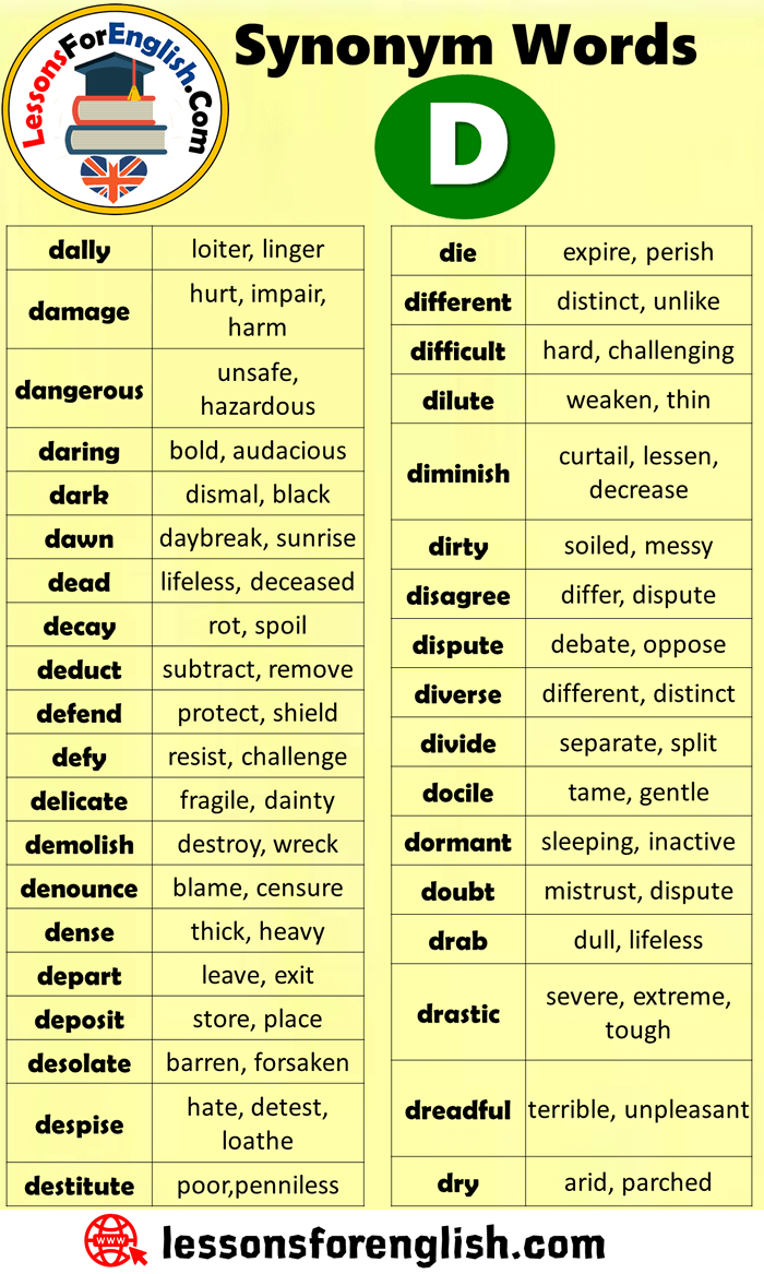 EnglishSynonym Words Starting With D