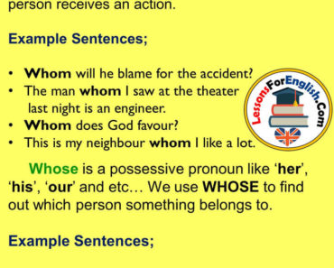 How tou use WHOM and WHOSE in English, Example Sentences