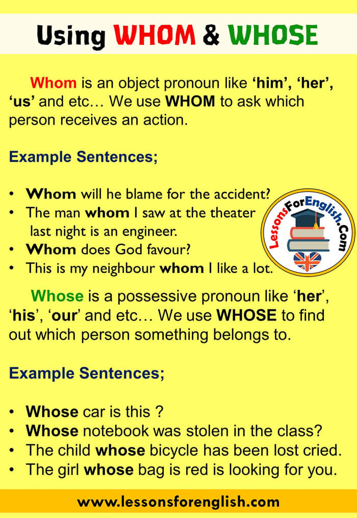 How tou useWHOM and WHOSE in English, Example Sentences