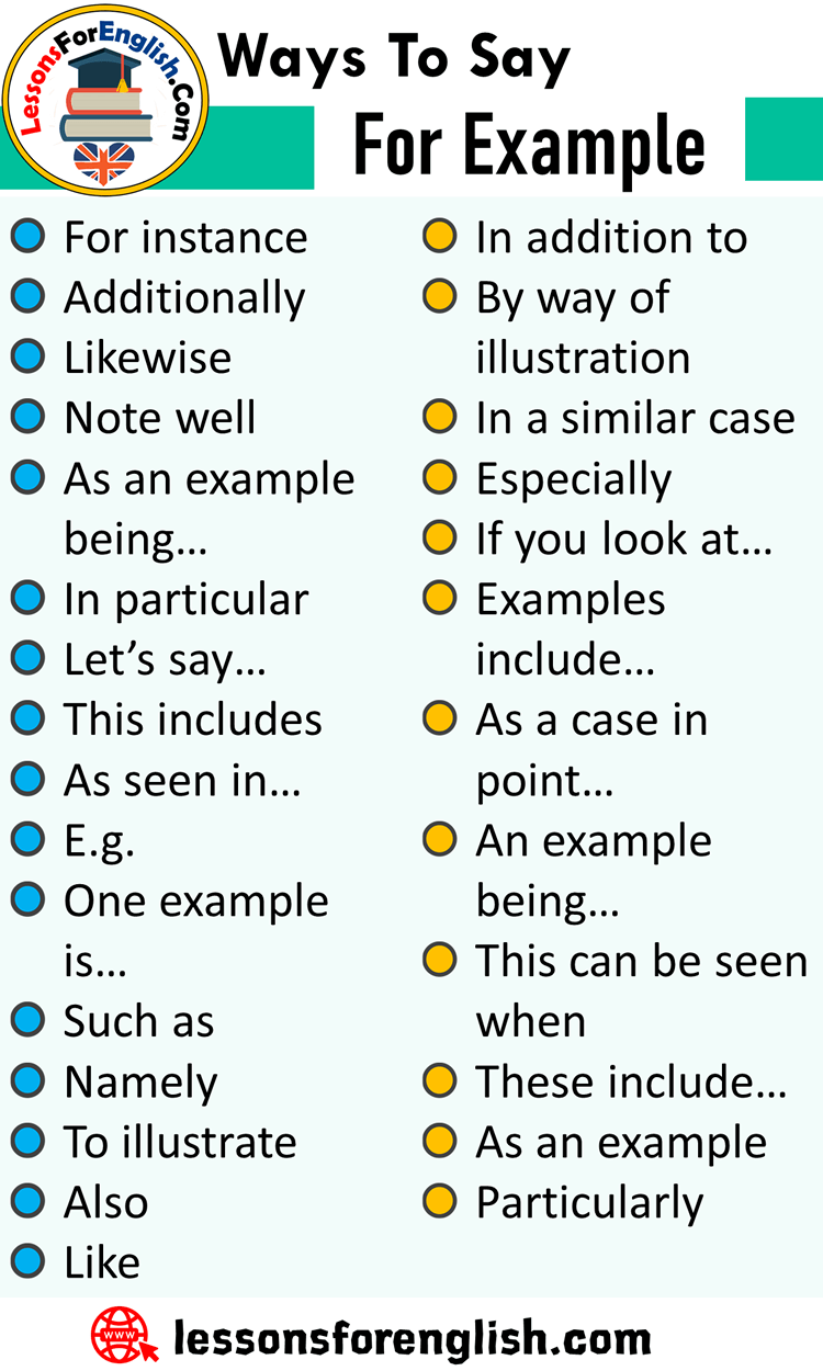 Ways To Say For Example, English Phrases Examples
