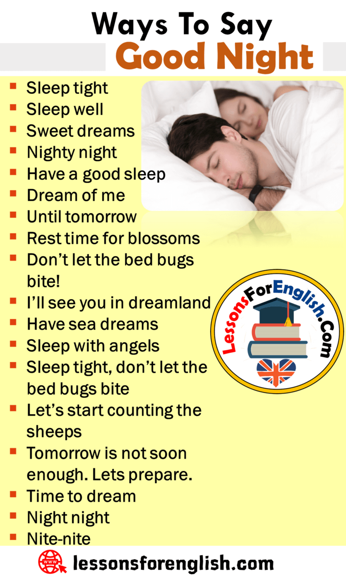 Ways To Say Good Night English Phrases Examples Lessons For English