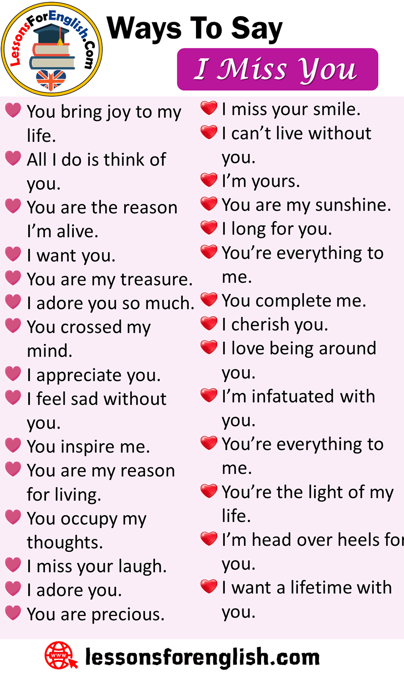 Ways To Say I Miss You, English Phrases Examples