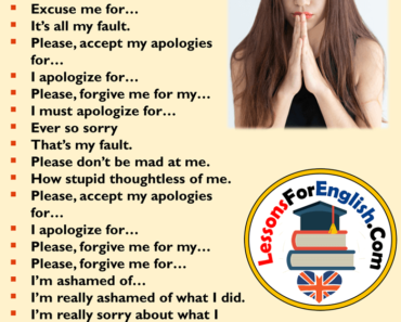 Different Ways To Say I'm sorry, English Phrases Examples