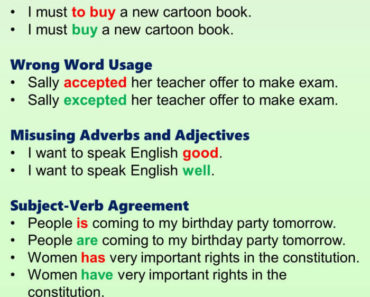 English Grammar Mistakes Examples