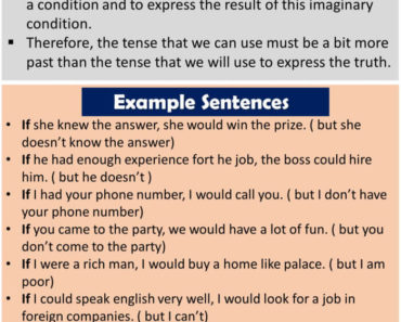 English If Clauses Type 2, Definiton and Example Sentences