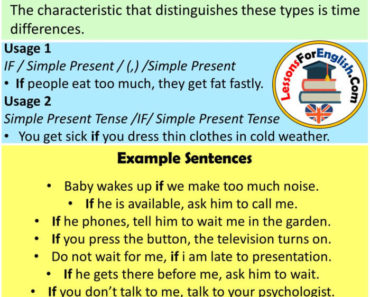 English If Clauses Type Zero, Definiton and Example Sentences