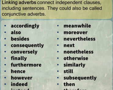 Linking Adverbs List in English