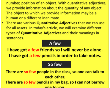Quantitative Adjectives, Definitions and Example Sentences