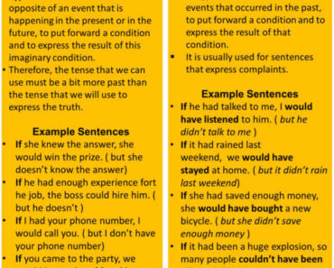 Second and Third Conditional Sentences