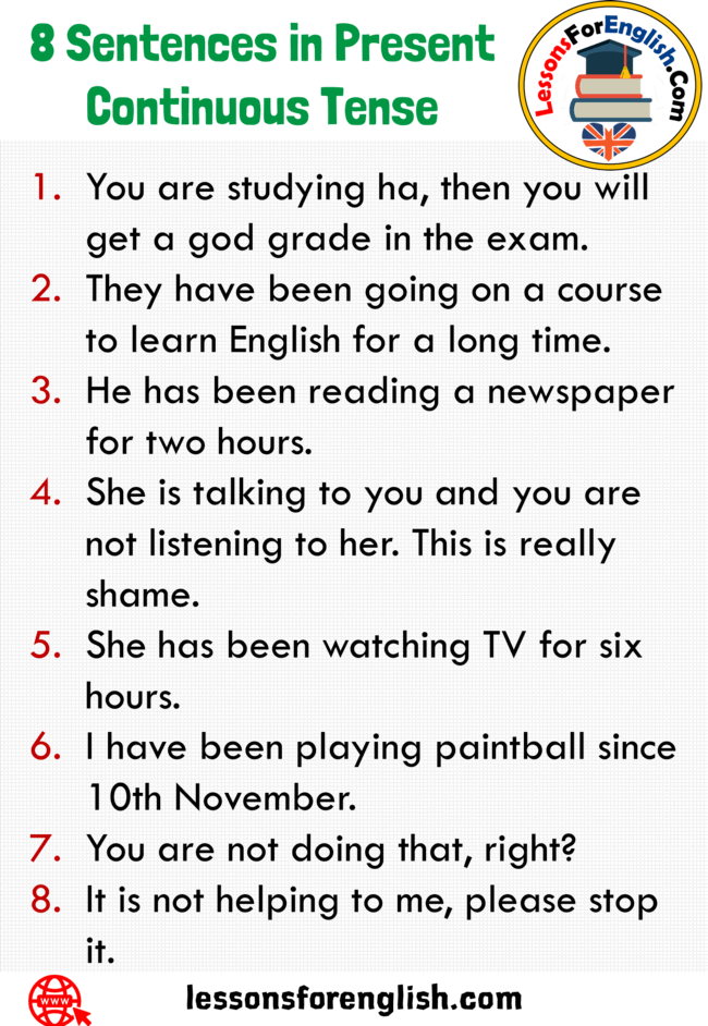 8 sentences in present continuous tense  lessons for english