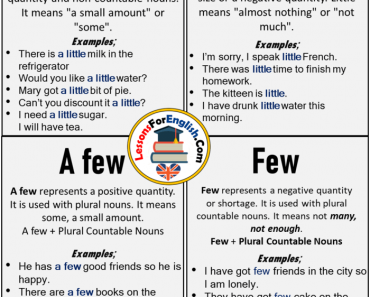 A little, Little, A few, Few, Using and Example Sentences