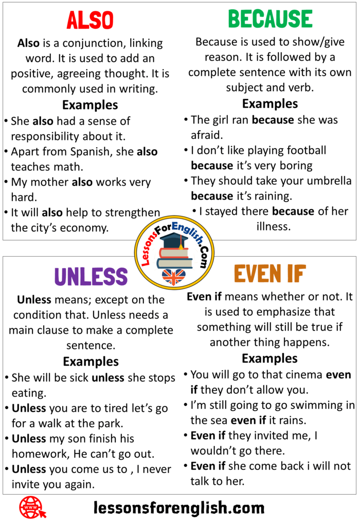 Uses Also Because Unless And Even If In English Definition And Example Sentences Lessons For English
