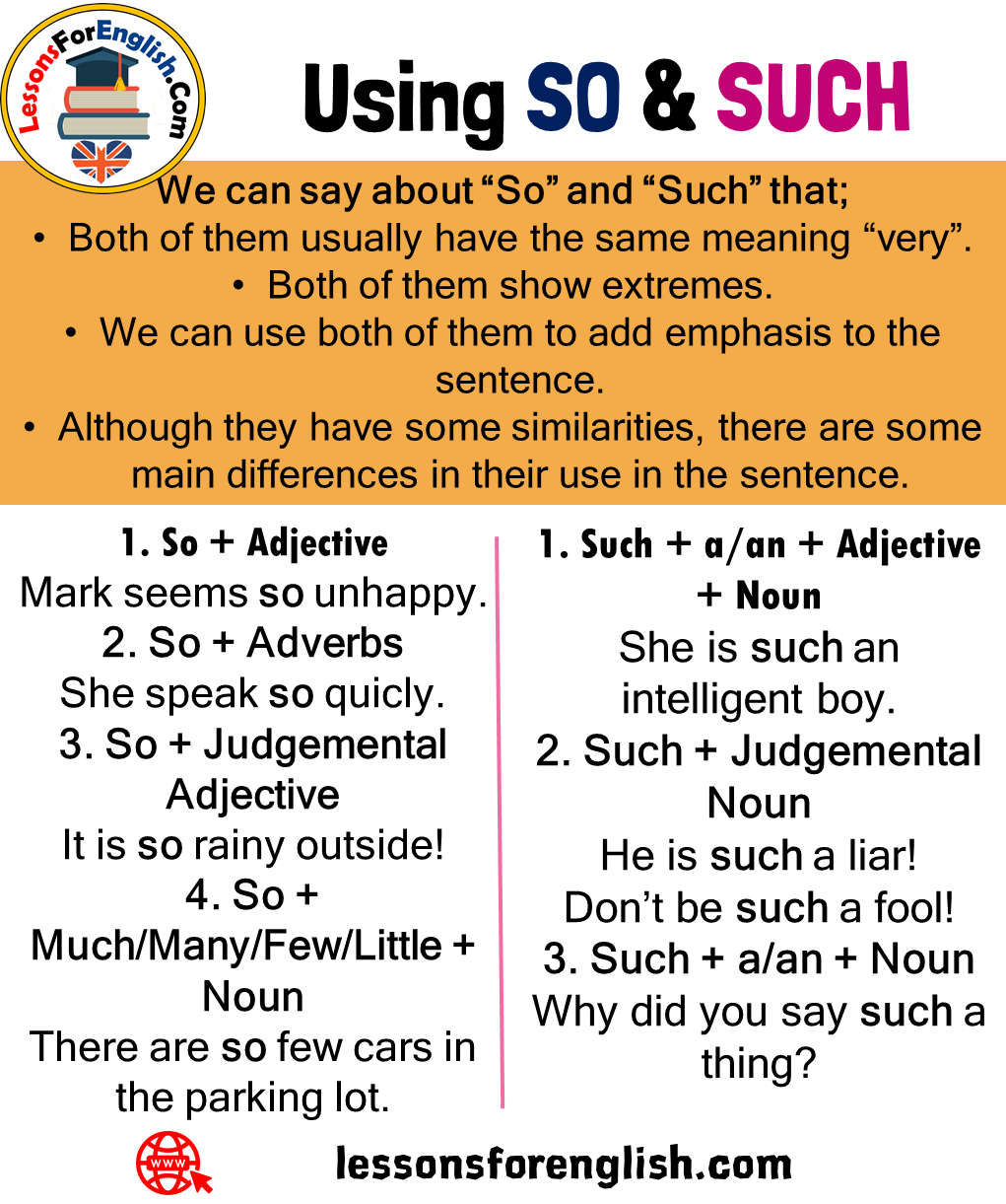 Using SO and SUCH, Definition and Examples - Lessons For