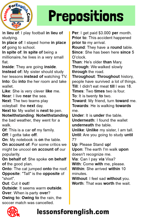 80 Prepositions List and Example Sentences - Lessons For English